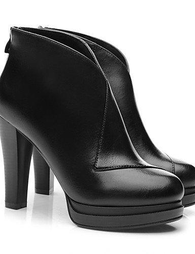 WSS 2016 Chaussures Femme-Habillé / Soirée & Evénement-Noir / Rouge-Talon Cône-Talons-Chaussures à Talons-Similicuir black-us6.5-7 / eu37 / uk4.5-5 / cn37