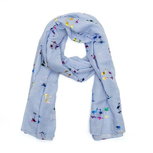 MANUMAR Schal für Damen | feines Hals-Tuch in hellblau mit Flamingo-Motiv als perfektes Herbst Winter Accessoire | Klassischer Damen-Schal | Stola | Mode-Schal | Das ideale Geschenk für Frauen