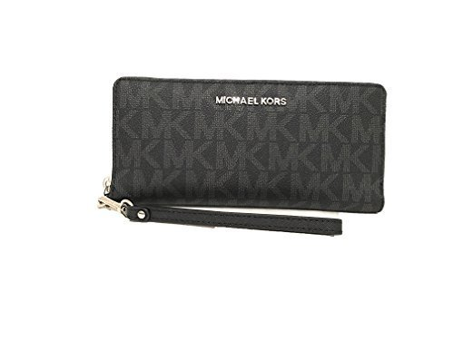 Michael Kors Monogram Jet Set Continental Zip Around Travel Wallet Black PVC -