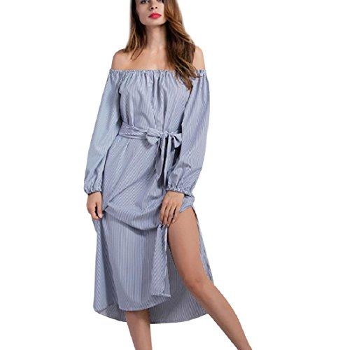 Amlaiworld Femmes Automne Printemps Slash cou robe rayée à manches longues Bleu