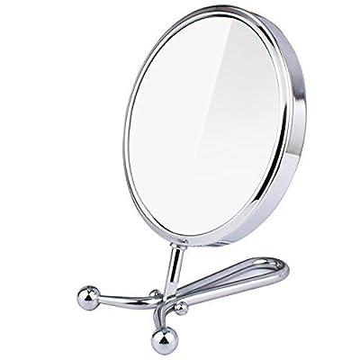 Compact doppelseitig 1x-3x Vergrößerung Handheld Make-up Spiegel mit Ständer rund Rückseite Kosmetikspiegel Tischplatte drehbar Kosmetikspiegel Vergrößerung Faltbarer Spiegel Chrom Finish 14cm