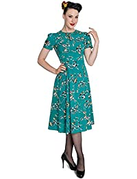 Hell Bunny Birdy 40s 50s Tea Party Pin up Landgirl WW2 Retro Vintage Style Dress