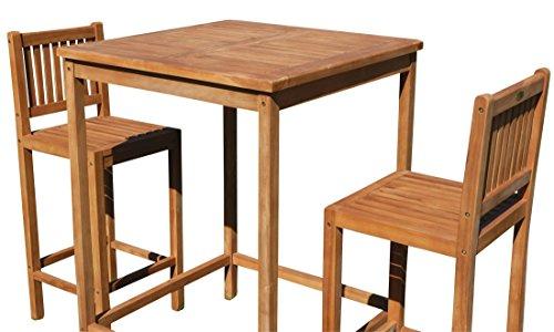 ASS BAR-Set - Teak Bartisch Bistrotisch Stehtisch 80x80cm mit 2X Barhocker Holz Modell: JAV-BIMA-SET80 von -