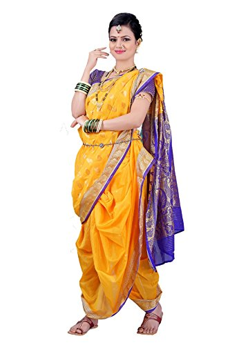 Bhartiya Vastra Bhandar Women's Ready To Wear Nauvari Saree(DNoA6_LeafYellow_Yellow_FreeSize)