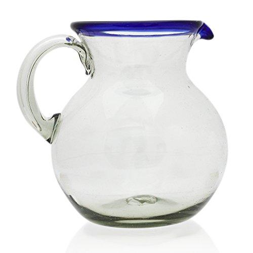 Grand pichet (2,5 litres), soufflé à la main, fait en verre recyclé au Mexique - bordure bleue