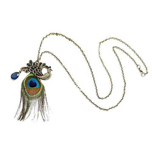 Pfau Schmuck Kostüm - YAZILIND Pfau Feder Lange Halsketten Schellfisch Aussagen Kristall Kragenchoker Chunky Für Frauen Colorful (Pfauenfeder Halskette)