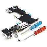 Conector Dock cargador USB MMOBIEL para Iphone 5s blanco con micrófono, antena audiojack y conector de botón de inicio pre-instalado. Incluye dos destornilladores para una fácil instalación.