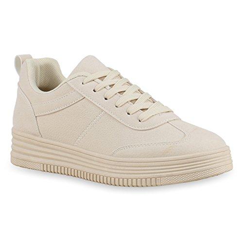 Damen Sneakers Sneaker Wedges Mini-Keilabsatz Schuhe Creme