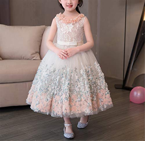 ELEGENCE-Z Blumenmädchen Kleider, Prinzessin Kleid Formale Hochzeit Brautjungfer Party Taufe Tüll Spitzenkleid für Kinder (Prinzessin Kleider Geschwollene)