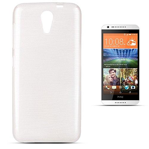 Moozy Glossy Silikon Hülle für HTC Desire 620, Weiß - Glänzend Gebürstete Brushed Cover Case