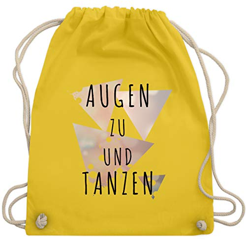 Festival Turnbeutel - Augen zu und tanzen - schwarz - Unisize - Gelb - WM110 - Turnbeutel & Gym Bag
