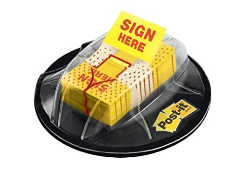 Flags in Dispenser, Sign Here, Yellow, 200 Flags/Dispenser, Sold as 1 Package
