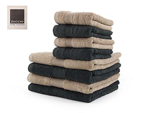 Zucchi set asciugamano 8 pezzi home fashion var. asfalto e corda + tavoletta profumo biancheria per armadi by biancocasa
