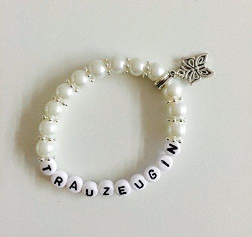 Handgemachtes Armband Trauzeugin aus Perlen, Gastgeschenk, Geschenk zur Hochzeit, Geburtstag, Perlen (weiß)