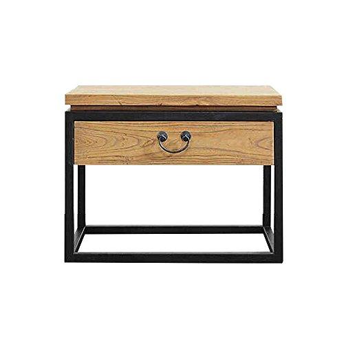 Emma home Massivholz Nachttisch Eisen Möbel Beistelltische mit Schubladen Nachttisch Nachttisch