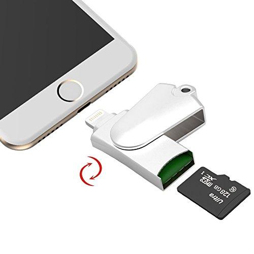 Kartenleser iPhone Lightning/ Micro USB Stecker für iPhone/iPad / PC/Mac mit Externen Speicher SD-Karte Slot Lightning Stecker Speicherstick 4GB/ 8GB/ 16GB/ 32GB/ 64GB/ 128GB/ 256GB Unterstützung Metall Drehen Stick USB 2.0