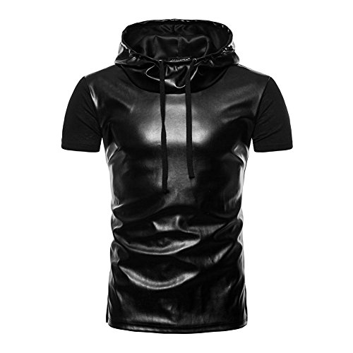 Occitop Patchwork PU Leather Men Tee Motor Stage Casual Hooded Short Sleeve T Shirt