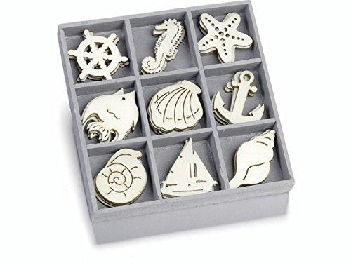 Cart-us 10,5x 10,5cm caja de madera con adornos de animales marinos, Natural