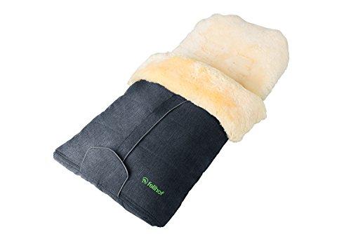 Fellhof 108309 Lammfell Fußsack Cortina, OEKO-TEX® Standard 100 zertifiziert, 45x97 cm, wind- und wasserdicht, waschbar bis 30°C, Öffnung am Fußende (anthrazit-melange)
