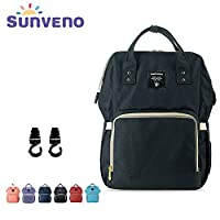 Nappy Changing Bag Backpack, Multi-function Large Capacity Baby Diaper Backpack for Women by Sunveno (Black)