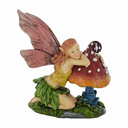 Garden Fairy, knelt auf Pilz Outdoor Decor Neuheit Skulptur für Fairy Pixie Gnome Fantasy Kerzenhalter -