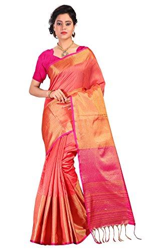 Fabattic Tassar Silk Saree With Blouse Piece (Red_Free Size)