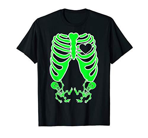 Zwillinge Für Kostüm - Schwangere Röntgen-Skelett Zwillinge Kostüm Mutter Halloween T-Shirt