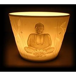 Portavelas Buda 7cm velas Portavelas iluminación ambiental votiva de porcelana con caja regalo Feng Shui
