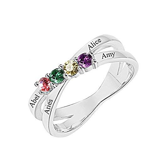 Yanday Ring der Frauen kundengebundener Name und Birthstone Ring-Silber personifiziertes Geschenk(Silber Plated 50 (15.9))