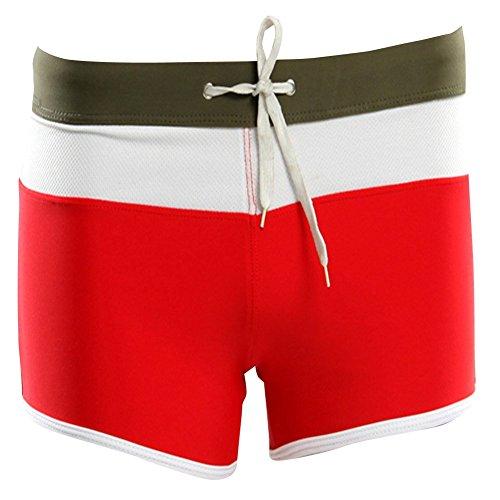 Moollyfox Hommes Élégant Modélisation Angle Plat Maillots de bain Rouge