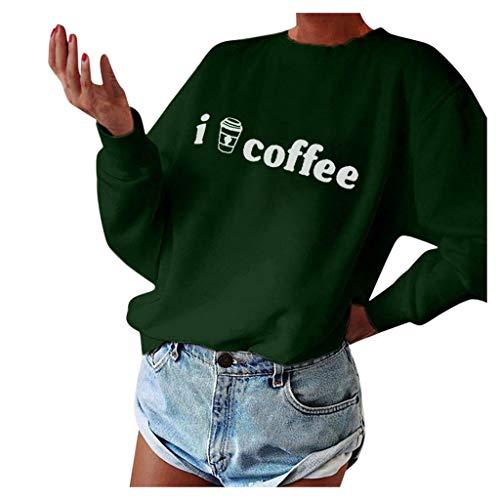 LOPILY Damen Oberteile Kaffee Slogan Muster Hoodie Damen Oversize Pullover Damen Locker Freizeit Sport Hoodie Herbst Langarm Sweatshirt Poloshirt Damen Herbst Einfarbige Sport Shirts (Grün, 42)