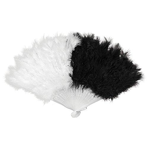 Und Schwarze Tanz Kostüm Weiße - Federfächer Schwarz/Weiß mit echten Federn Fächer Tanzfächer Handfächer für Tanz Charleston Kostüme