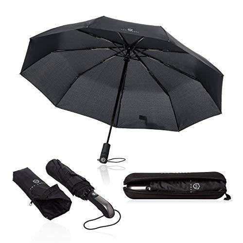 VON HEESEN Regenschirm sturmfest bis 140 km/h - inkl. Schirm-Tasche & Reise-Etui - Taschenschirm mit Auf-Zu-Automatik, klein, leicht & kompakt, Teflon-Beschichtung, windsicher, stabil (Schwarz)