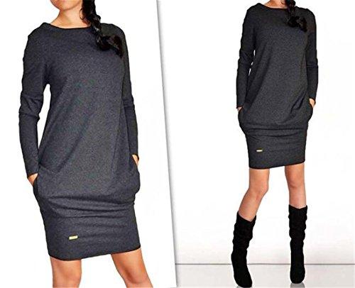 QIYUN.Z Les Femmes Casual Manches Longues Solide Enveloppe De Base De Coton Noir/Gris Taille De Robe S-XL Noir