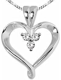 CLEVER SCHMUCK-SET Silberner Anhänger elegantes Herz offene Form leicht verschnörkelt 3 Zirkonia in der Mitte und Kette Panzer 45 cm STERLING SILBER 925 rhodiniert
