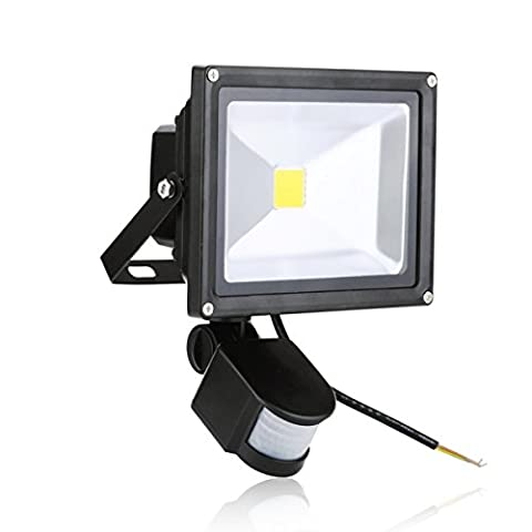 SAILUN 20W LED SMD Strahler Fluter Außen Flutlicht Strahler mit PIR Bewegungsmelder Fluter Wasserdicht IP65 Aluminiumkörper Schwarz Warmweiß