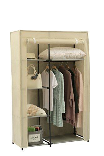Home-Like Stoffschrank Kleiderschrank mit Kleiderstange Vlies Leinwand Tuch Kleiderschrank Schlafzimmer Möbel Lagerung mit Hängeschiene Schwarz 105x45x158 cm (Beige) -