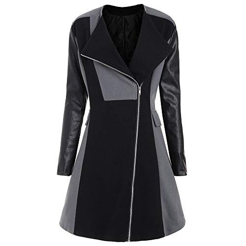 feuerwehr bettwaesche fuer erwachsene Yvelands Damen Langen Mantel Winter warme Frauen Wollleder Patchwork Langen Jacke Outwear(CN-XL,Grau)