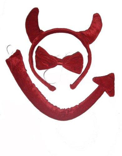 300072 Teufel Set für Kinder, Haareif Hörner, Schweif, Halsband, Teufelhörner Devil