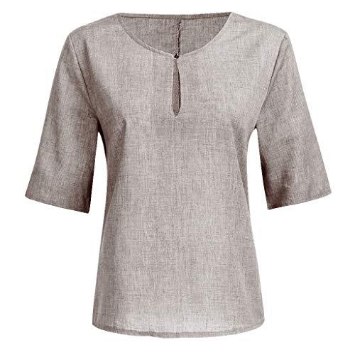 Sulifor Damen EinfarbigOberteil Frauen Lose Leinen Lässige Button V-Ausschnitt Plus Size Solid Shirt Bluse Tunika Tops ModischDamenShirt