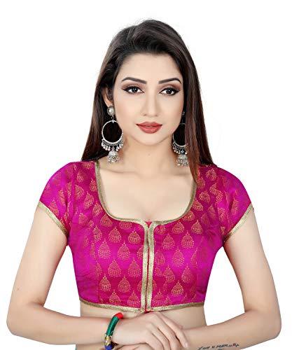 Pink Jhumki Pattern Round Neck Women Saree Blouse