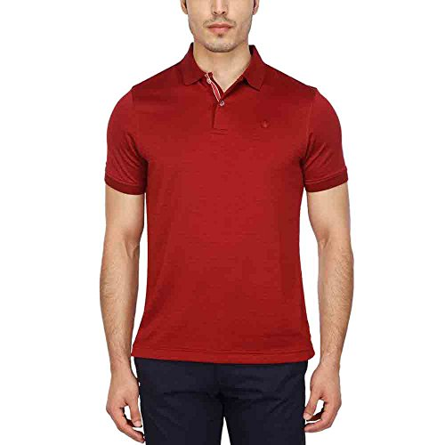Louis Philippe Mens Self Pattern Polo T-shirt  available at amazon for Rs.1259