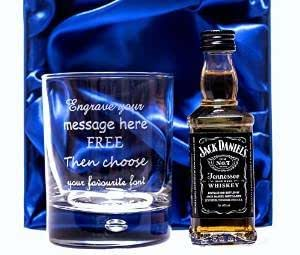 Engraved/Personalised Glass Tumbler & Jack Daniels in Silk Gift Box For Boys/Girls/Men/Women/18th/21st/30th/40th/50th/60th Birthday/Grandad