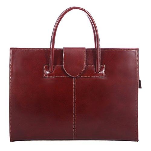 Frau Aktentasche und Schultertasche 100 Made Italy Geldbörsen Leder Braun Handtasche in echtes HHpwq5rx