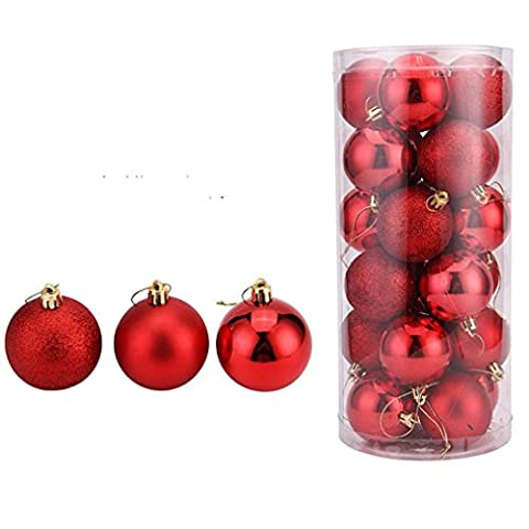 Tefamore 24Pcs Christmas Balls Baubles Party Xmas Tree Decorations (Red)