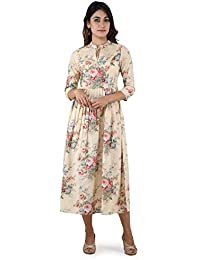 ANAYNA Women's Cotton Printed Pleated Long Dress In Beige Color.