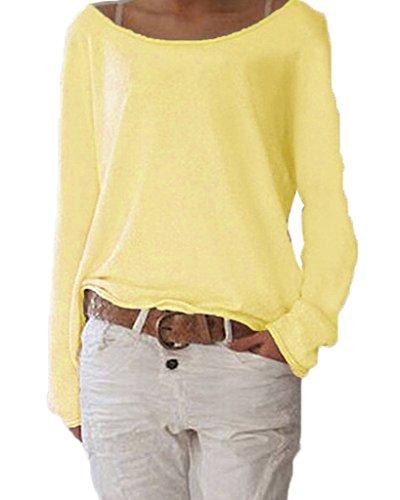 Damen Pulli Langarm T-Shirt Rundhals Ausschnitt Lose Bluse Hemd Pullover Oversize Sweatshirt Oberteil Tops Gelb S