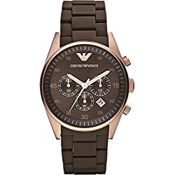 Men's Emporio Armani AR5890 Brown Silicon Stainless Steel Quartz Watch