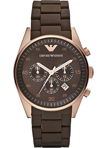 EMPORIO ARMANI AR5890 MEN'S QUARTZ ROSE GOLD SPORT SILICONE STAINLESS STEEL CHRONOGRAPH WATCH