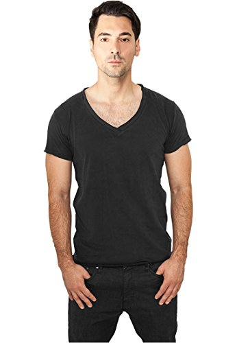 Urban Classics Fitted Peached Open Edge V-Neck Tee T-Shirt nero M
